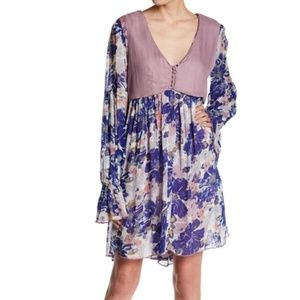 Free People | Floral Vested Long Sleeve Dress